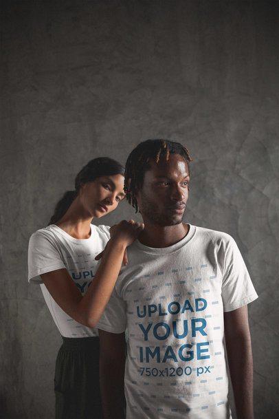 Interracial Couple of a Black Dude with Short Dreadlocks and Hispanic Girl Wearing Shirts Mockup a20103