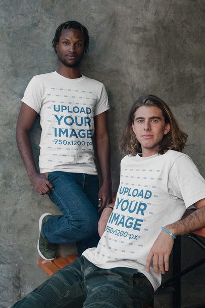 Interracial Friends Shot Featuring a Black Dude with Short Dreadlocks and White Guy Wearing Shirts Mockup a20114