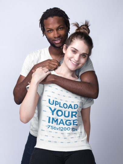 Mockup of a Man Hugging a Woman and Wearing T-Shirts 19950