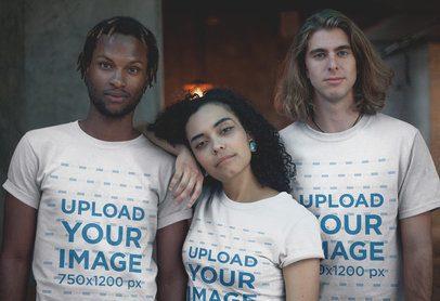 Interracial Friends Wearing T-Shirts Mockup a20106