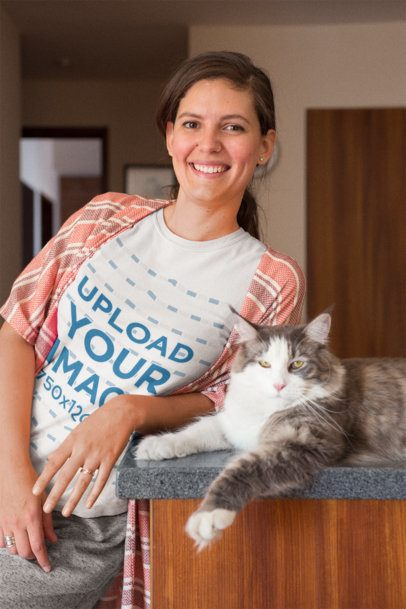 Happy Girl Wearing a T-Shirt Mockup with her Cat a18977