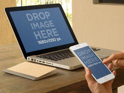 iPhone 6 Plus And Macbook Pro Mockup