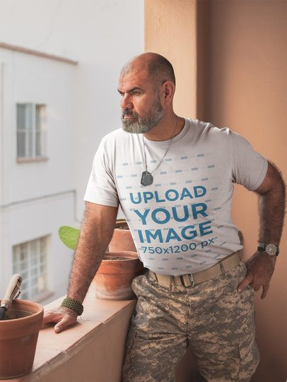 T-Shirt Mockup Featuring a Soldier in Army Gear a20624