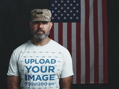 Mockup of a Veteran Soldier Wearing a T-Shirt with the American Flag a20638