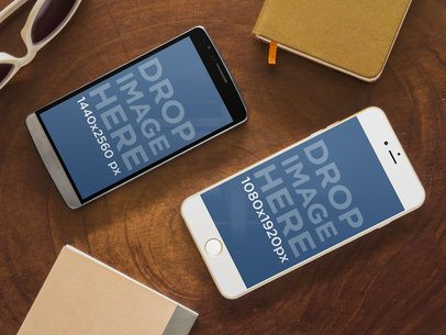 LG G3 and iPhone 6 Plus at Work