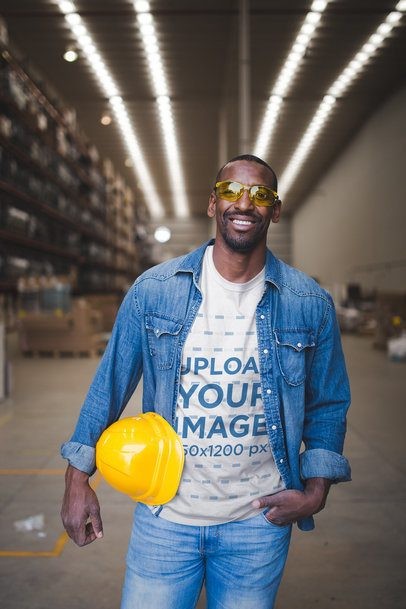 Happy Man Wearing a T-Shirt Template at the Warehouse a20452