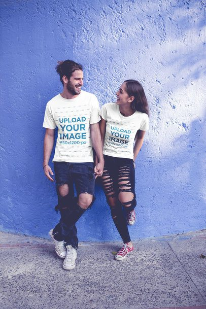 T-Shirt Mockup Featuring a Young Couple in Love Walking Around a20583