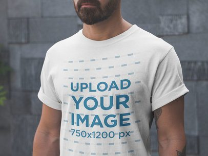Closeup T-Shirt Mockup Being Worn by a Man with Tattoos and a Beard a20900