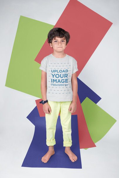 T-Shirt Mockup of a Serious Kid with a Colorful Background 19492b