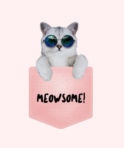 Cool Cat in Pocket T-Shirt Design Maker 31a