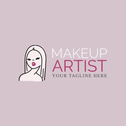 Makeup Artist Logo Maker with Line Art 1162a
