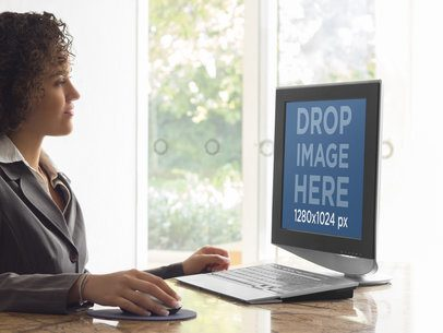 Desktop PC Mockup Template of Businesswoman at the Office