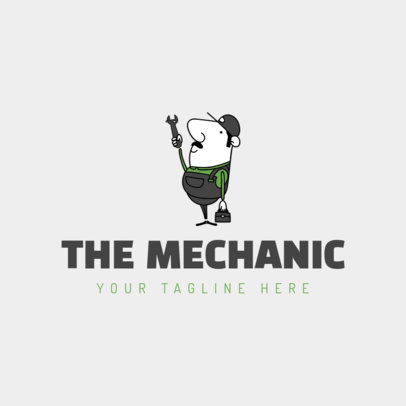 Mechanic Logo Maker with Cartoon Man 1186a