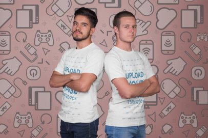 Mockup of Two Esports Players Wearing T-Shirts a21140