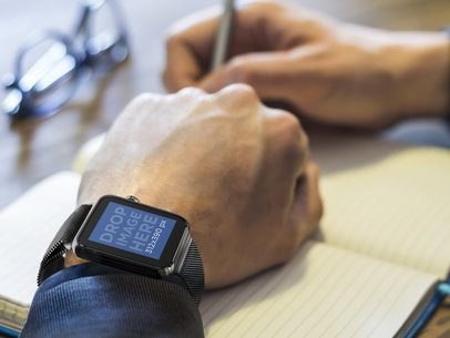 Businessman Writing With Black Apple Watch Mockup Template