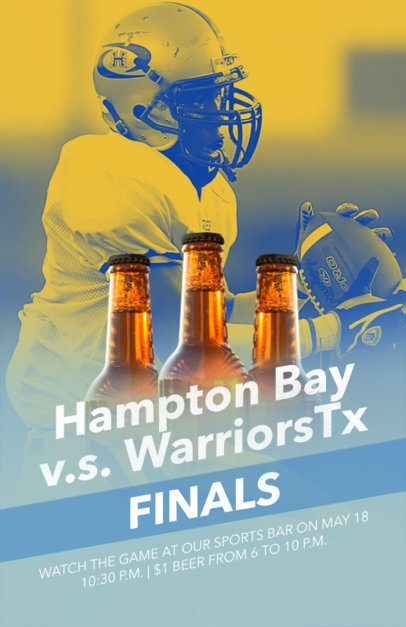 Flyer Maker for Sportsbar with Cutout Beer Images 181a