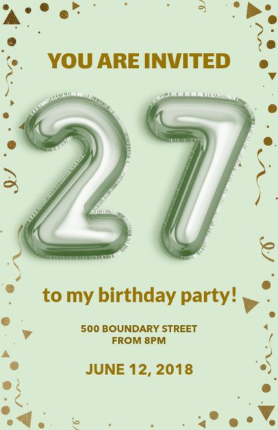 Flyer Maker with Green Theme for Birthday Parties 225c