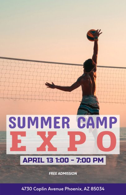 Summer Camp Flyer Maker with Volleyball Image 222c