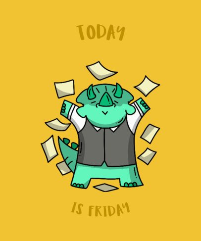 Shirt Design Maker of Friday Quotes with Dinosaurs 201c