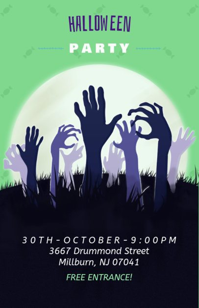 Halloween Online Flyer Maker with Hands Coming out from the Ground 121b