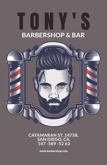 Flyer Template for a Barber Shop Blue Theme 218c