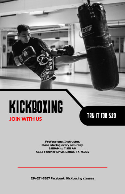 Flyer Maker for Kickboxing Gym Tryouts with Gym Images 131e