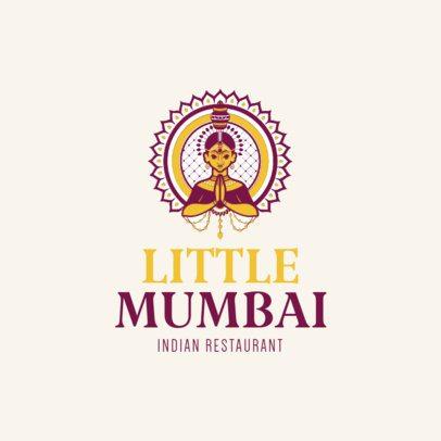 Elegant Indian Restaurant Logo Maker 1221b