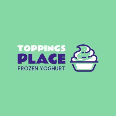 Frozen Yogurt Logo Maker Green Theme 1241b