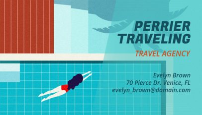 Business Card Maker for a Travel Agency with Pool Graphics 340a