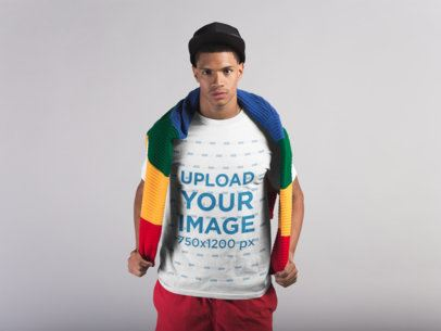 Front Shot of a Tshirt Mockup Featuring a Man with a Multicolor Sweater on his Back 21074