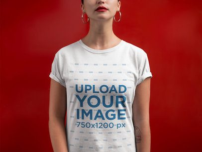 Closeup T-Shirt Mockup of a Woman Against a Red Wall 21316