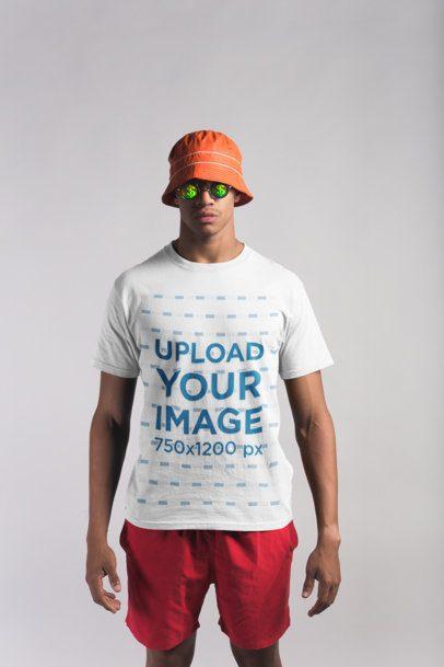 Beach Clothing Mockup of a Man Wearing a T-Shirt 21079