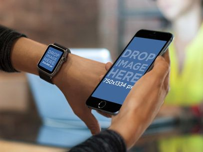 Mockup Template of an Apple Watch and iPhone 6 Being Held By a Woman