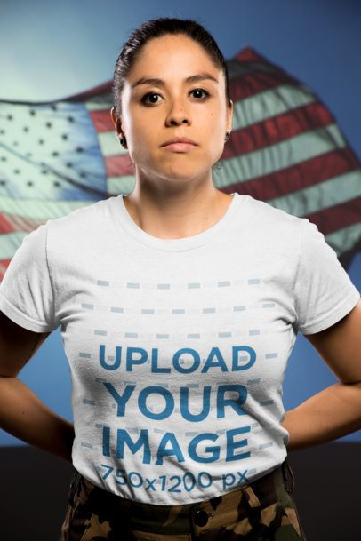 Mockup of a Woman Veteran Wearing a T-Shirt Against the American Flag 20217