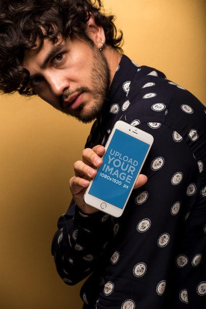Mockup of an iPhone 8 Plus Featuring a Man in a Patterned Shirt 21777
