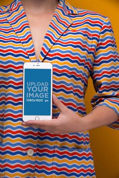 iPhone 8 Mockup Featuring a Woman Wearing a Bright Colorful Shirt 21833