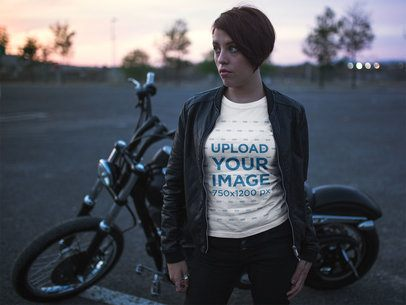 T-Shirt Mockup of a Short-Hair Biker Girl at a Parking Lot with her Bike 20257