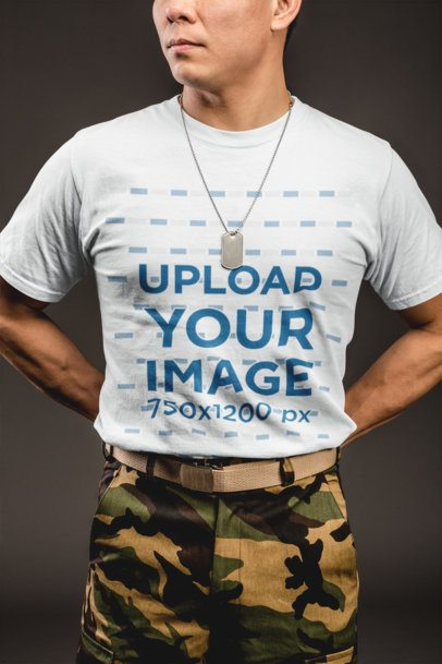 Crewneck Tee Mockup of a Man in an Army Outfit 21263