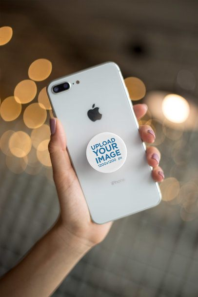 Phone Grip Mockup with String Lights in the Background 22146
