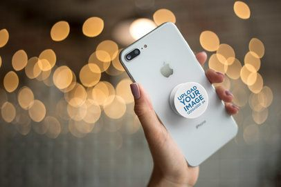Mockup of a Phone Grip with Twinkle Lights in the Background 22147