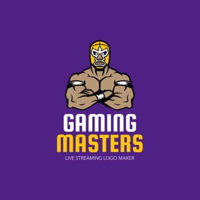 Gaming Channel Logo Maker with a Wrestler Illustration 1323
