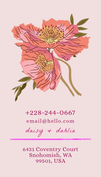 Vertical Business Card Template for Florists 568