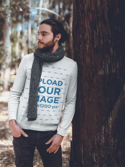 Crewneck Sweater Mockup of a Man with a Beard Leaning Against a Tree 18095