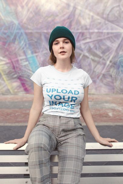 Mockup of a Woman Wearing a T-Shirt and a Beanie Hat 22669