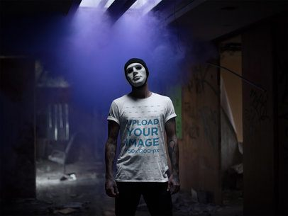 Halloween Round Neck Tee Mockup of a Man with a Mask in a Dark Room 22950