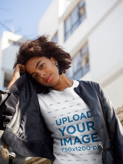 Tshirt Mockup of a Girl with a Leather Jacket Outside a Building 18204