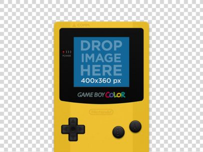 Videogame Mockup of a Yellow Game Boy Color