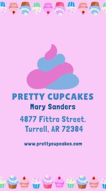 Pretty Cupcake Store Business Card Template 495b