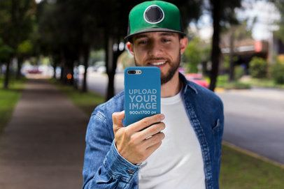 iPhone Case Mockup of a Man Taking a Photo at the Park 22874