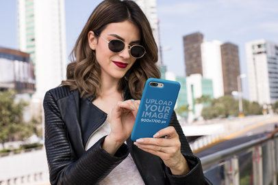 iPhone Case Mockup Featuring a Trendy Woman With Sunglasses 22899